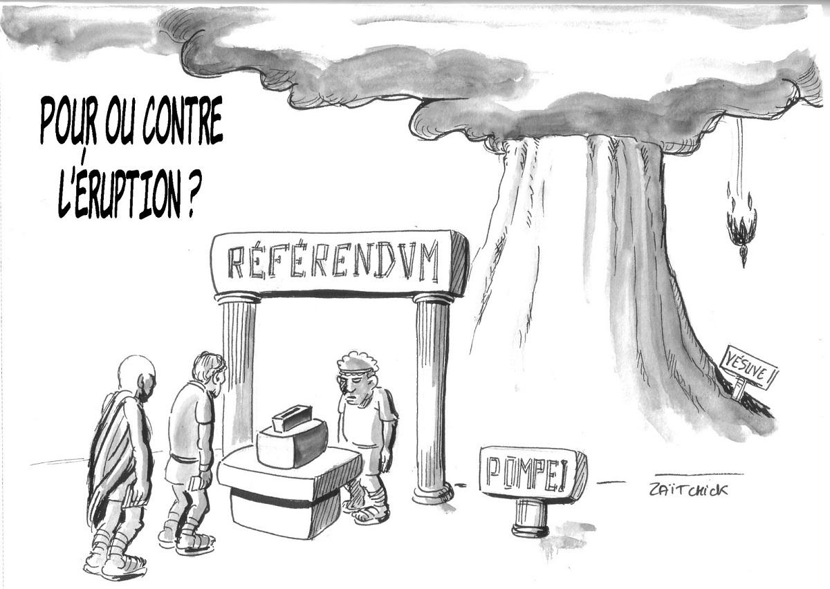 dessin humoristique d'un référendum organisé par les habitants de Pompéi pour influer l'éruption du Vésuve