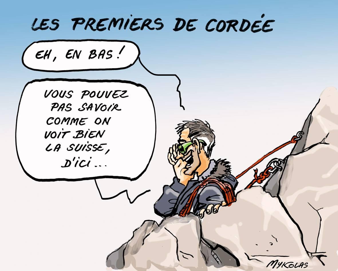 dessin d'actualité montrant un alpiniste observant la Suisse pour son exil fiscal