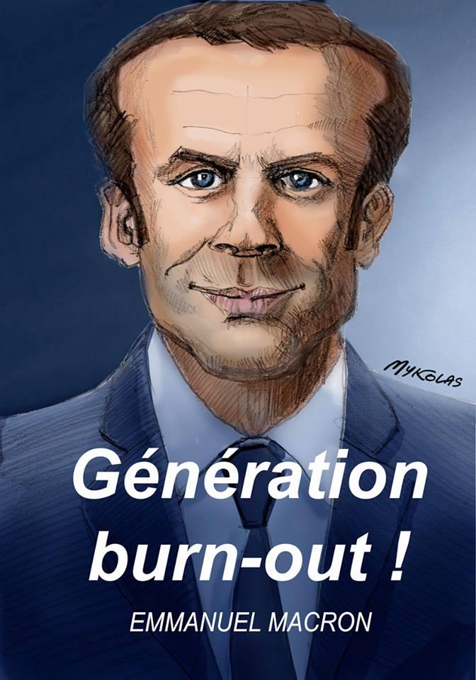 dessin d'actualité humoristique d'Emmanuel Macron en tête de la génération burn-out
