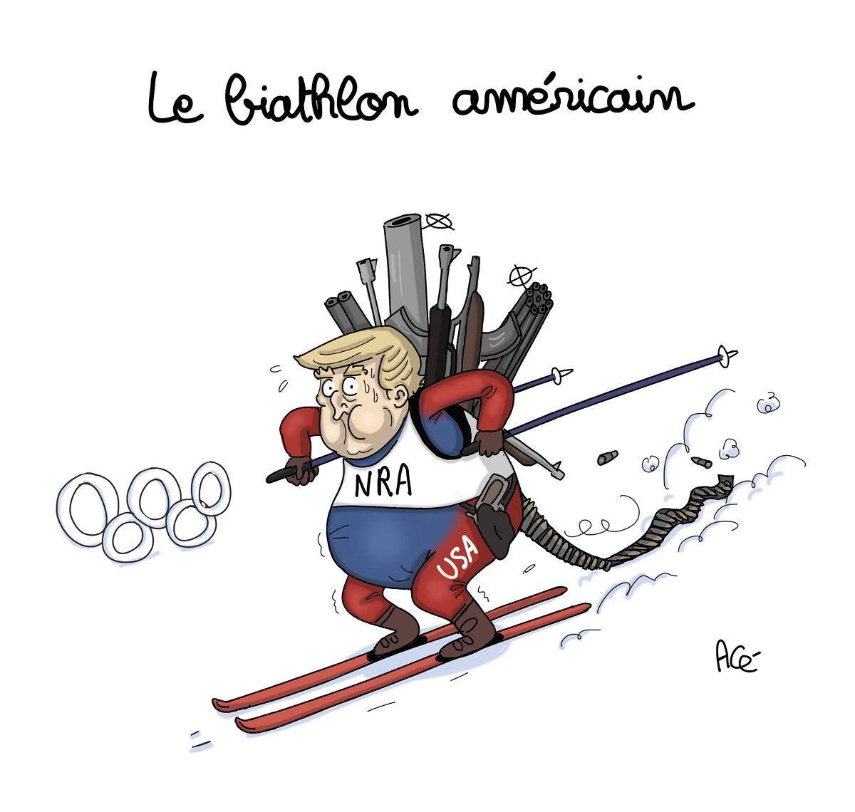 dessin d'actualité humoristique de Donald Trump disputant le biathlon