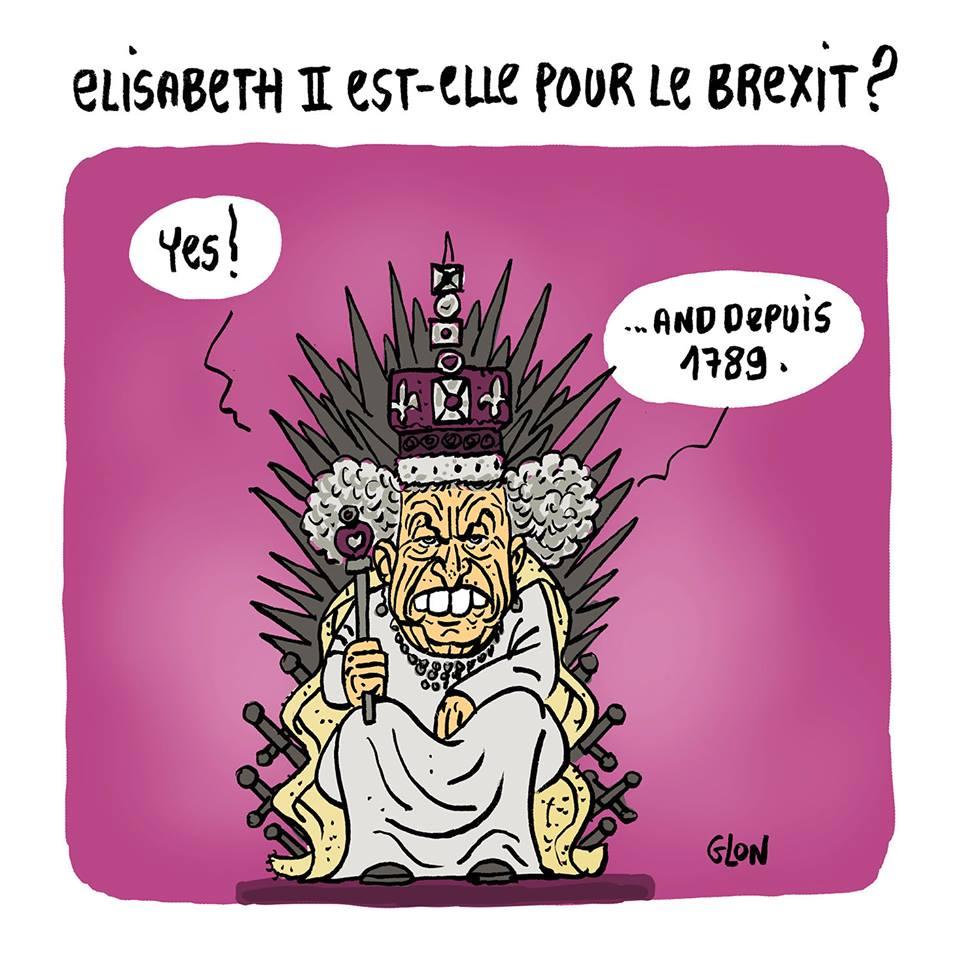 dessin d'actualité humoristique montrant Élisabeth II donnant son avis sur le Brexit
