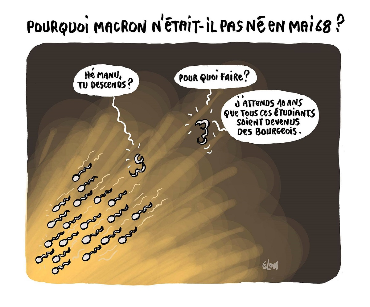 dessin d'actualité humoristique du spermatozoïde Emmanuel Macron