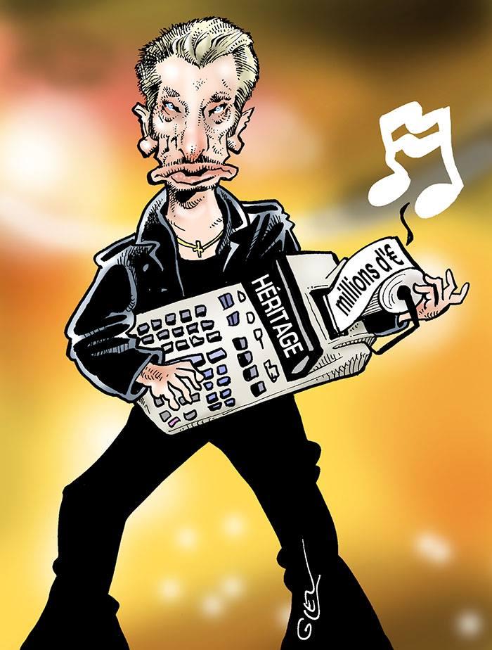 dessin d'actualité humoristique de Johnny Hallyday jouant de la caisse enregistreuse pour son héritage
