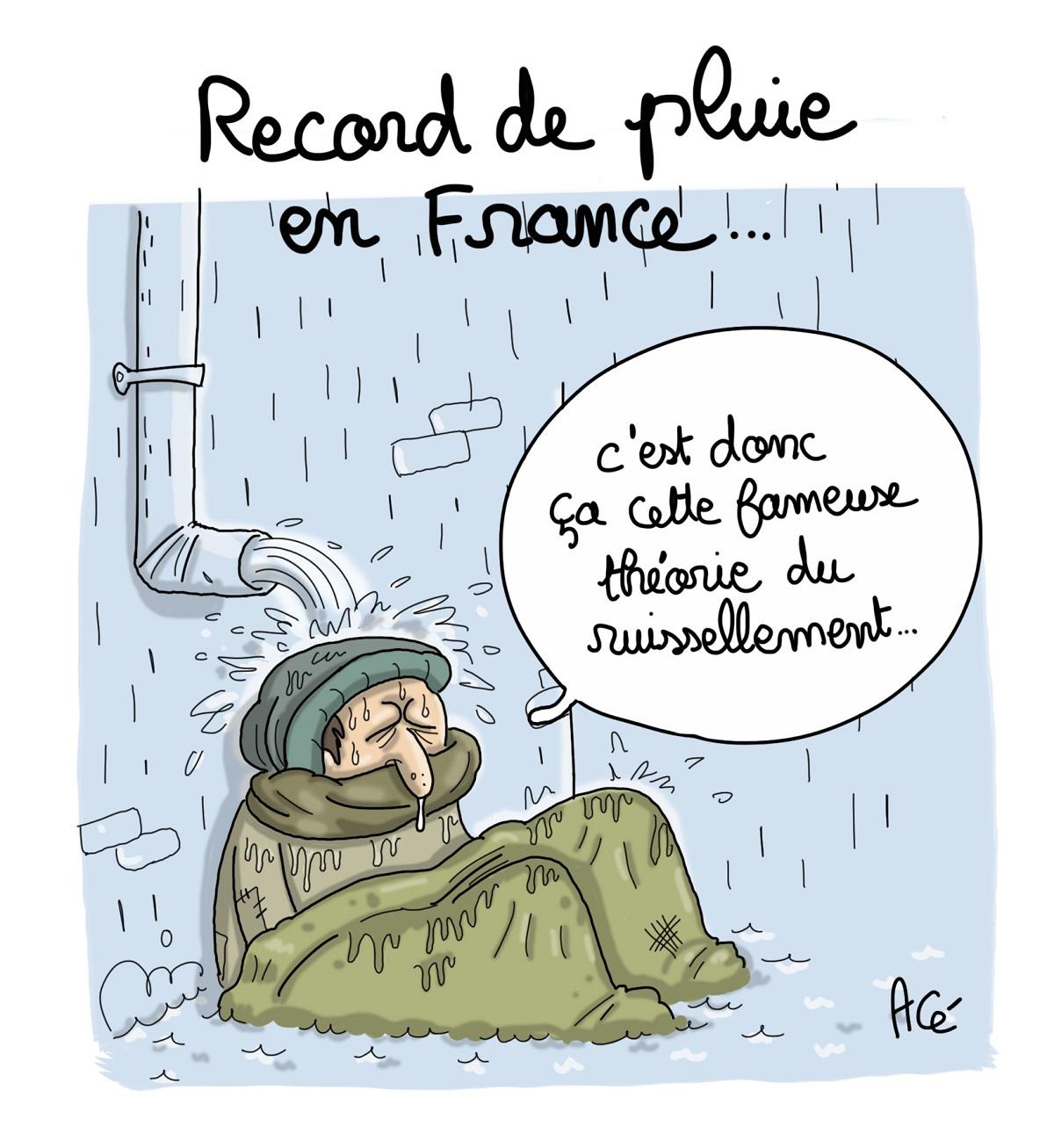 dessin d'actualité humoristique de la pluie qui ruisselle sur un sans-abri illustrant la théorie du ruissellement