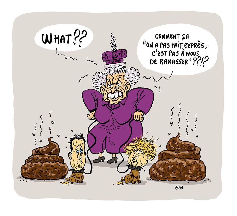 dessin d'actualité humoristique montrant Élisabeth II réprimandant David Cameron et Boris Johnson pour la merde du Brexit