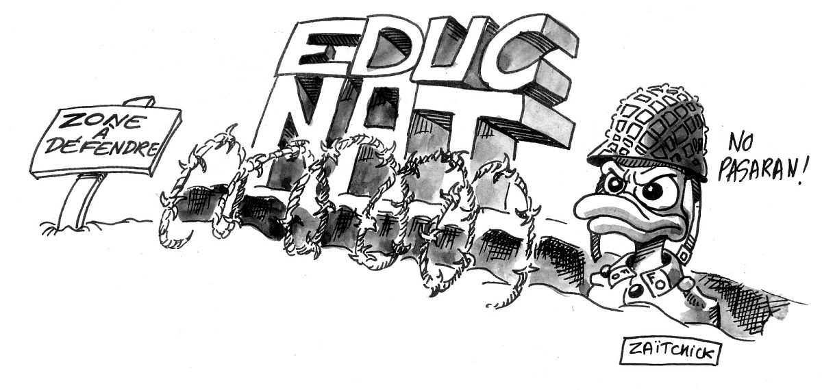 dessin d'actualité humoristique montrant la Zone à Défendre de l'Éducation Nationale