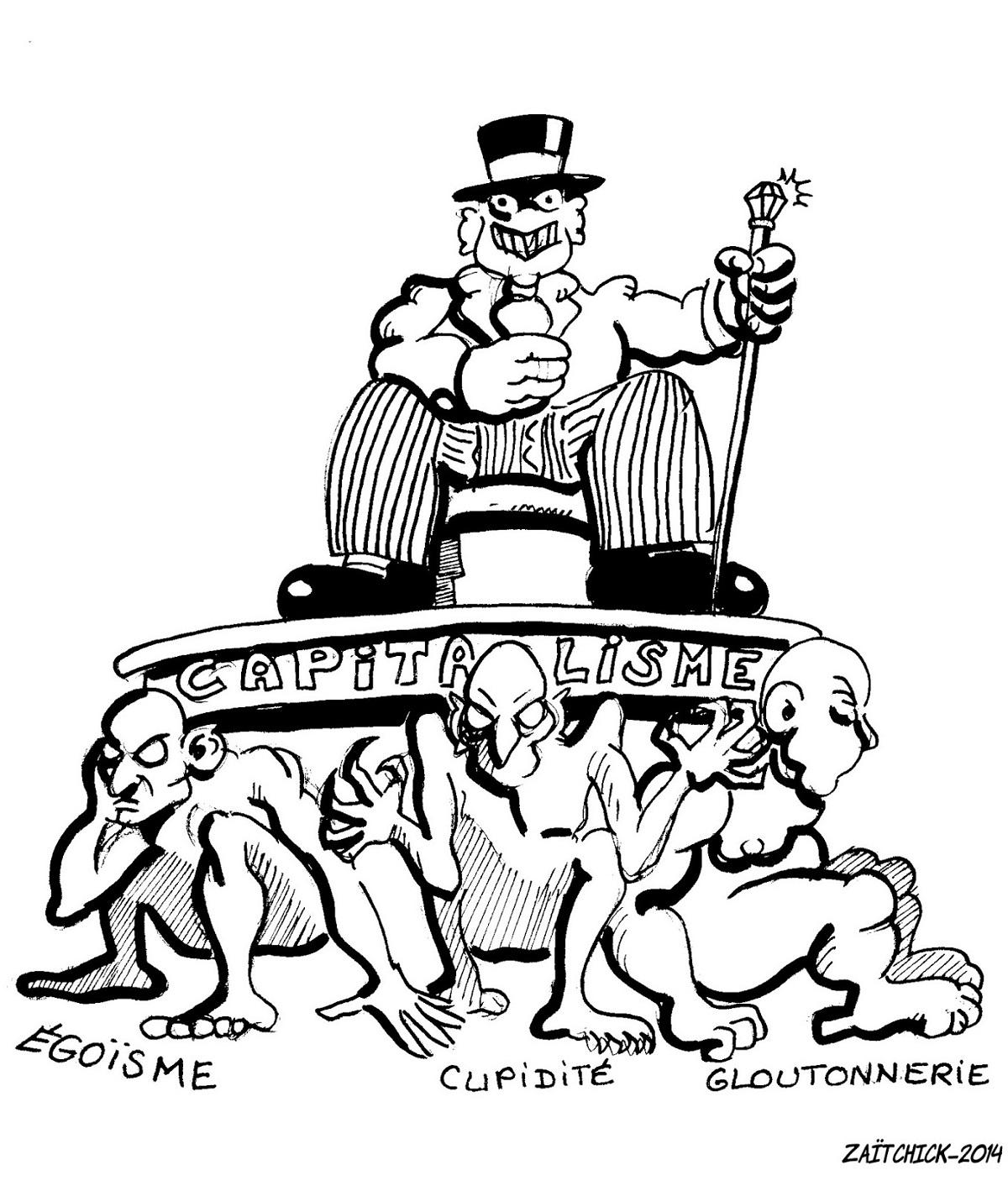dessin d'actualité du capitalisme soutenu par l'égoïsme, la cupidité et la gloutonnerie