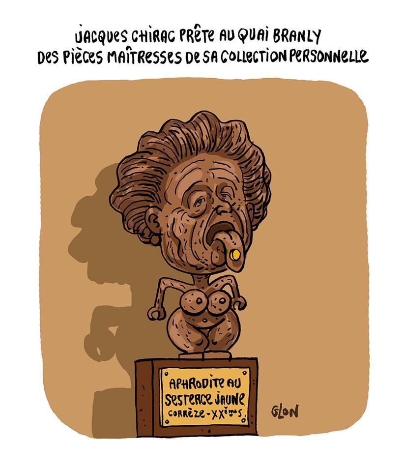 dessin d'actualité montrant Bernadette Chirac en Aphrodite au sesterce jaune