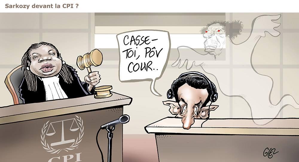dessin d'actualité humoristique de Nicolas Sarkozy devant la Cour Pénale Internationale