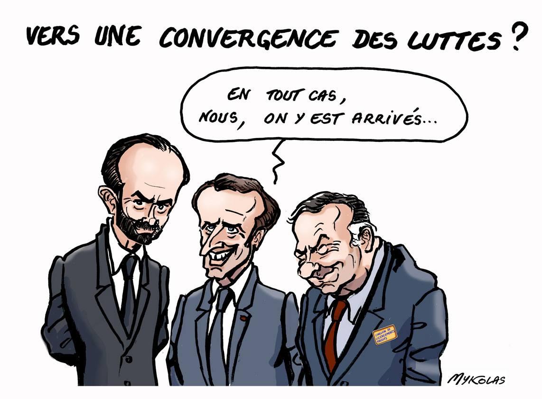 dessin d'actualité montrant le nouveau trio libéral : Emmanuel Macron, Édouard Philippe et Pierre Gattaz
