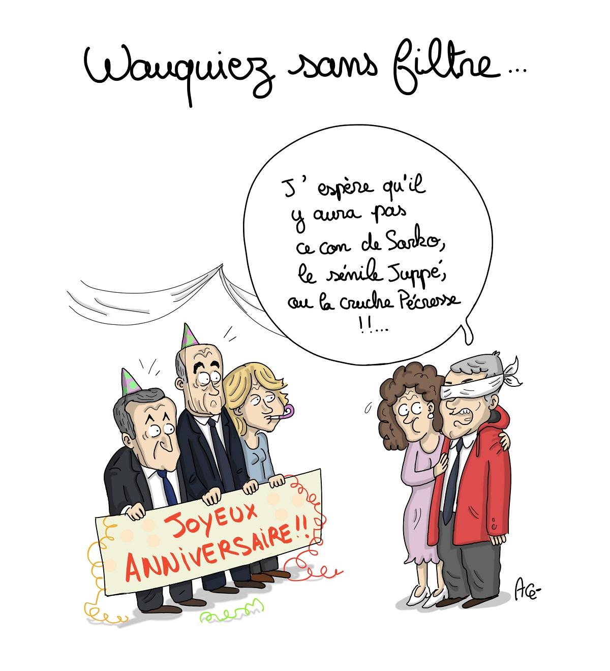 dessin d'actualité montrant Laurent Wauquiez insultant les hommes politiques de son camp