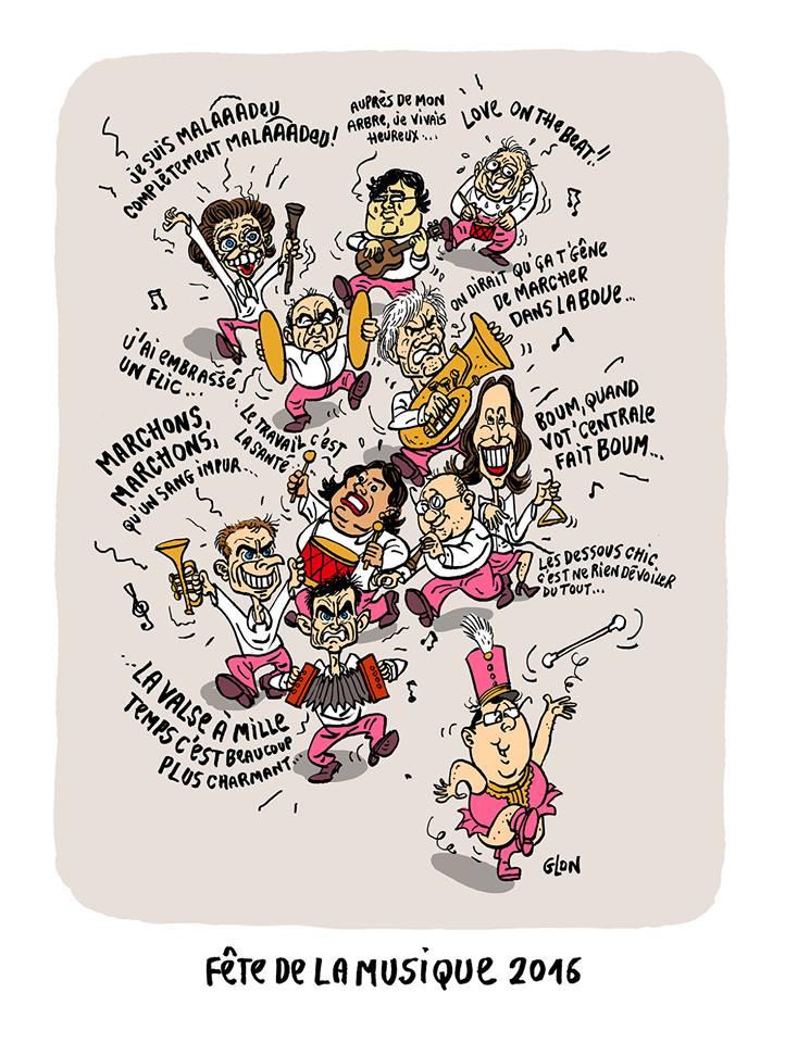 dessin d'actualité montrant la classe politique participant à la fête de la musique 2016