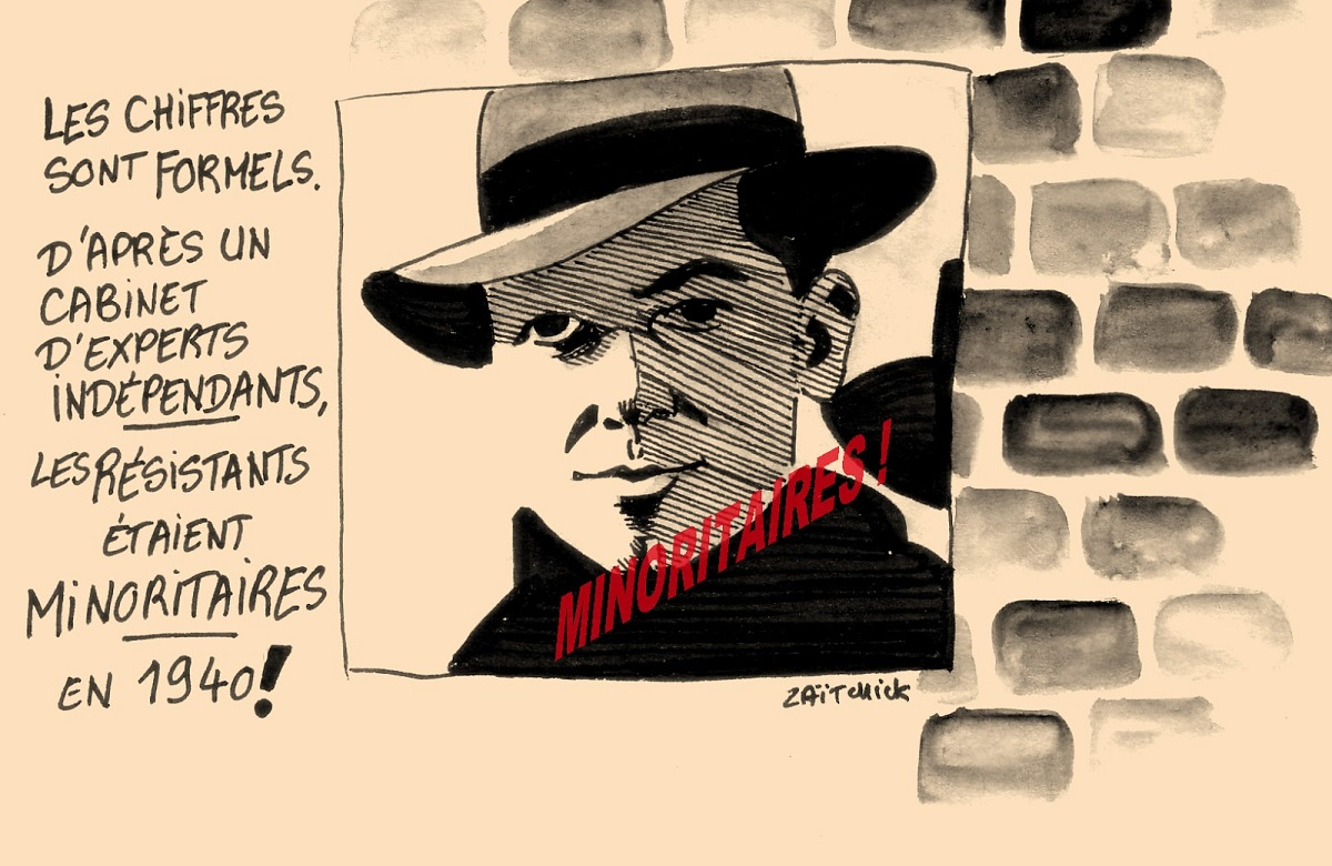 dessin d'actualité humoristique montrant avec Jean Moulin que la justesse d'une cause ne saurait être résumée au nombre de personnes qui la défende