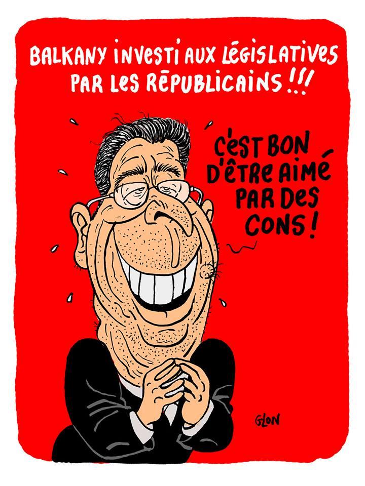 dessin d'actualité humoristique de Patrick Balkany investi aux législatives par Les Républicains