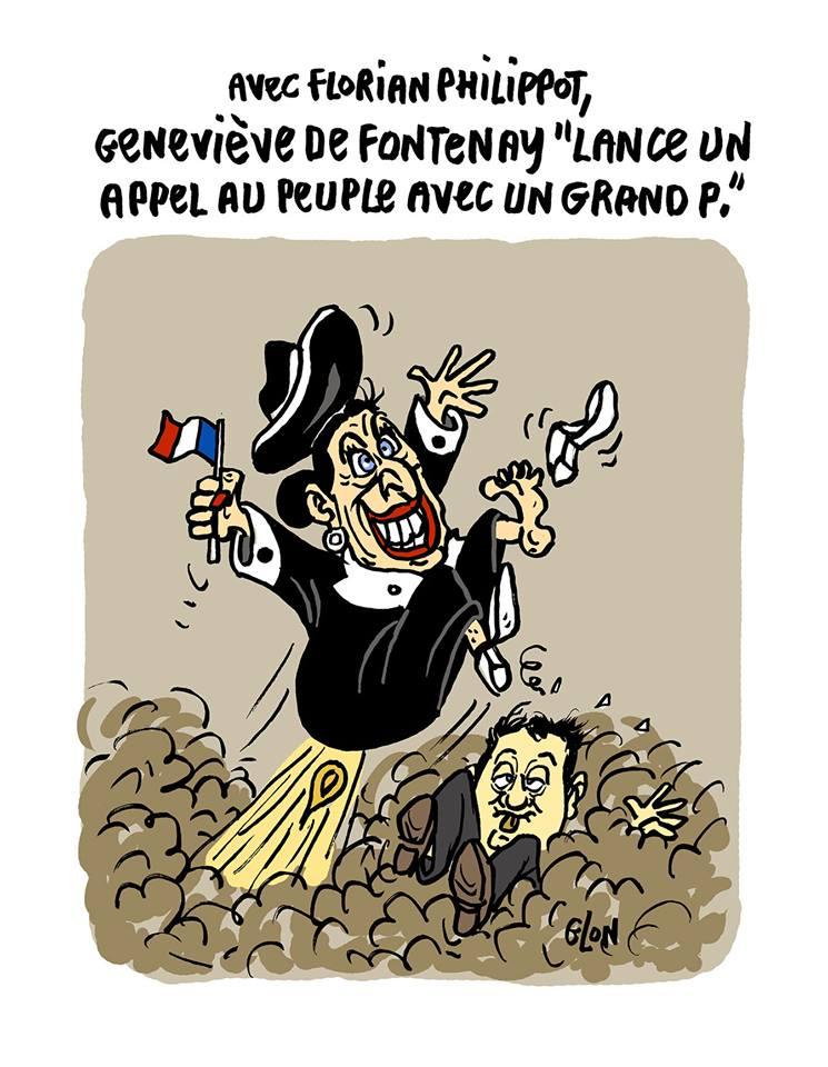 dessin d'actualité humoristique montrant Geneviève de Fontenay en compagnie de Florian Philippot