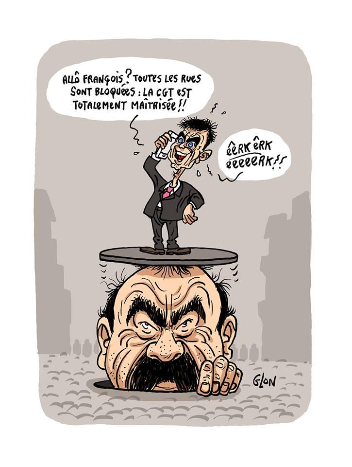 dessin d'actualité humoristique montrant Manuel Valls persuadé d'avoir enfin maîtrisé Philippe Martinez et la CGT