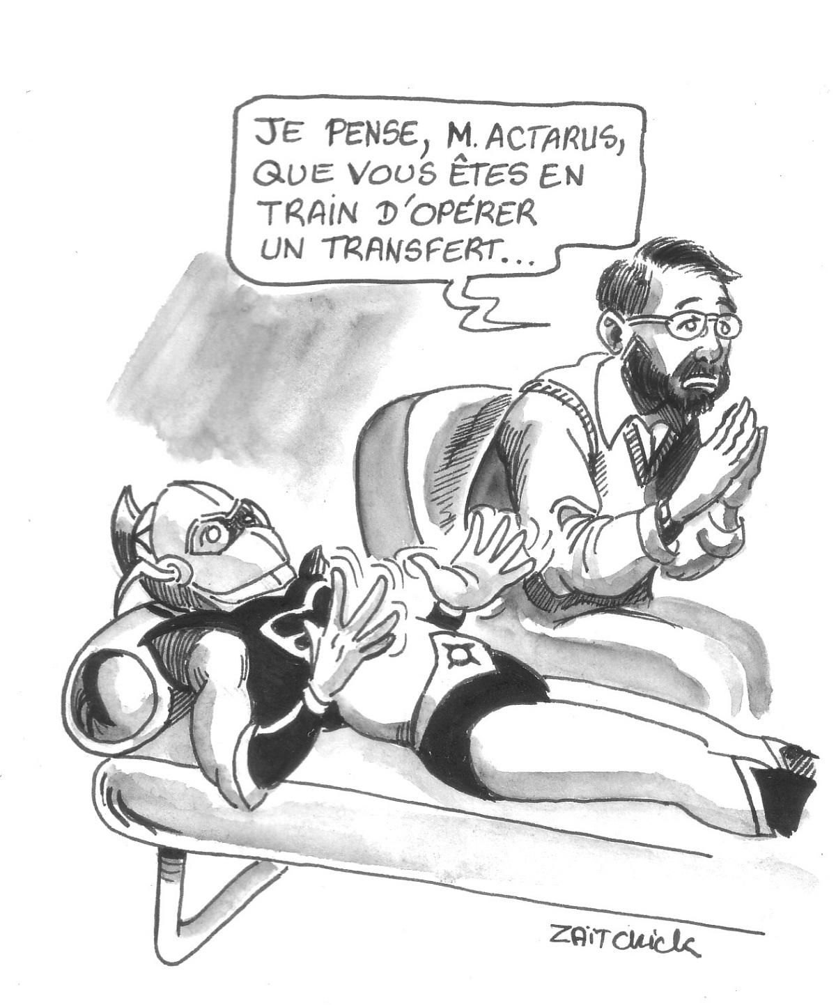 dessin humoristique montrant Actarus en pleine séance de psychanalyse