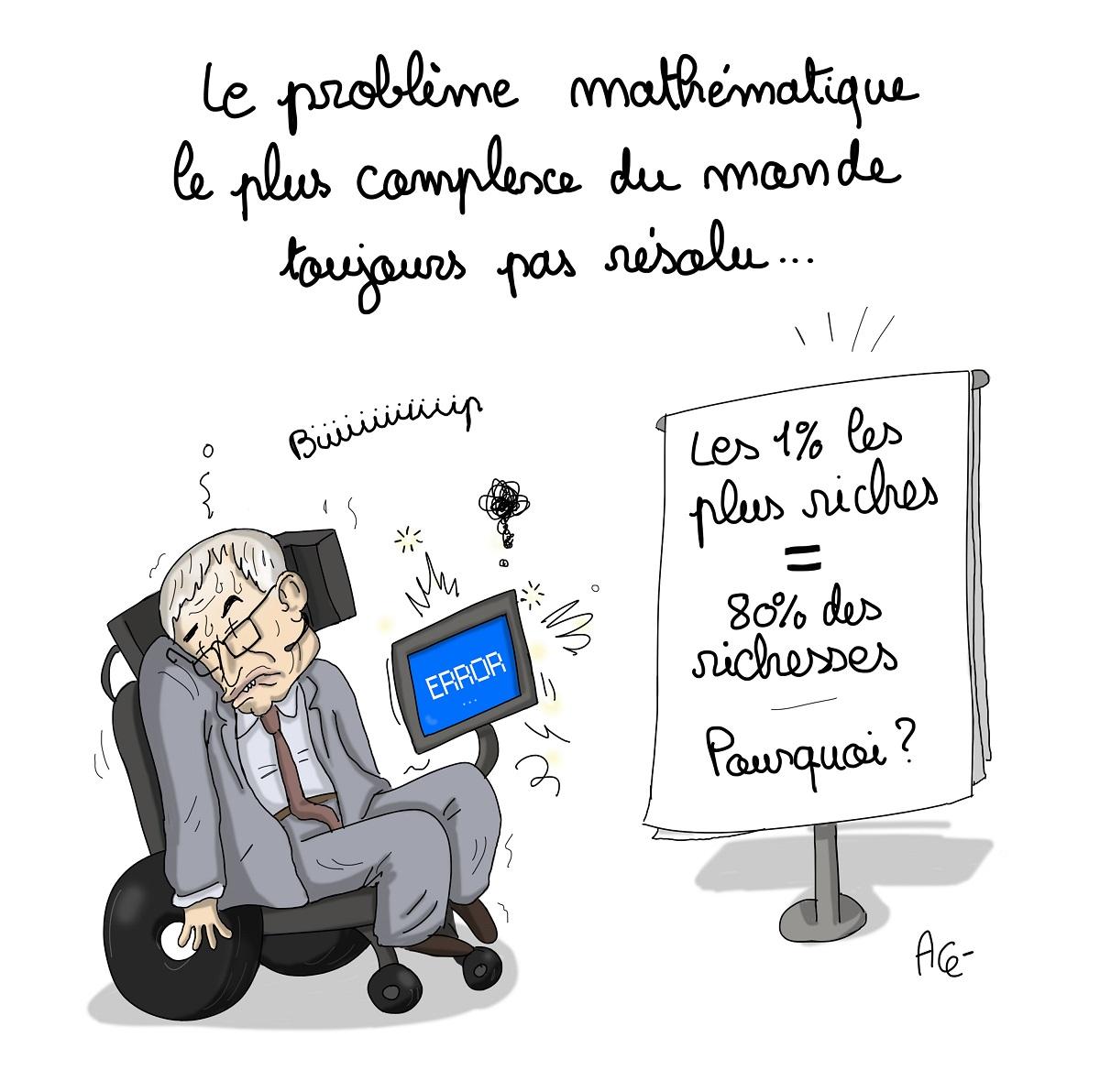 dessin drôle de Stephen Hawking devant l'équation des inégalités