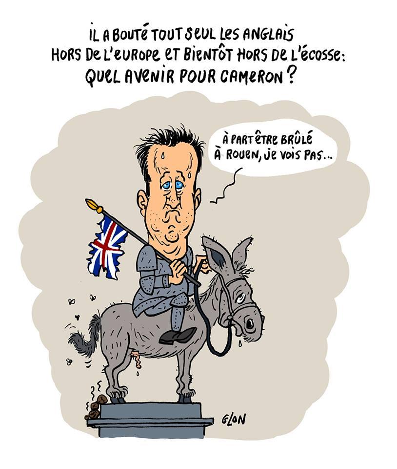 dessin d'actualité humoristique de David Cameron tel Jeanne d'Arc chevauchant un âne