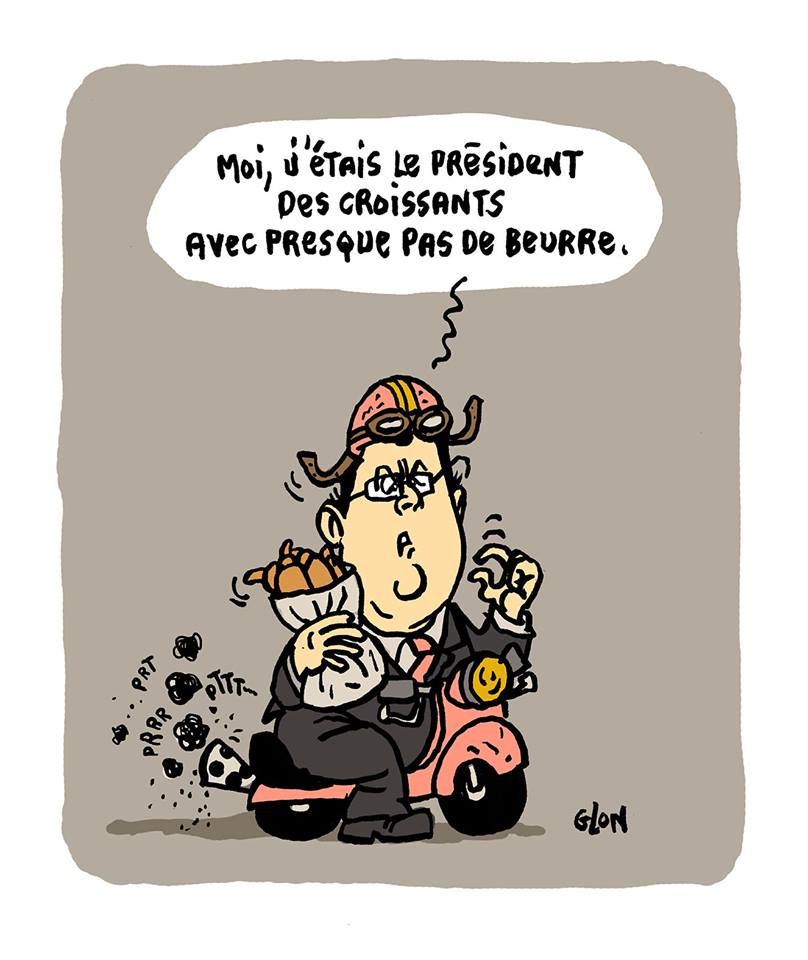 dessin d'actualité de François Hollande parlant des croissants de son quinquennat