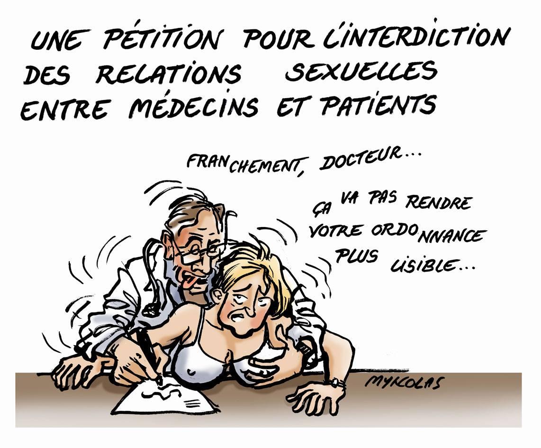 dessin d'actualité humoristique sur la pétition pour l'interdiction des relations sexuelles entre médecins et patients