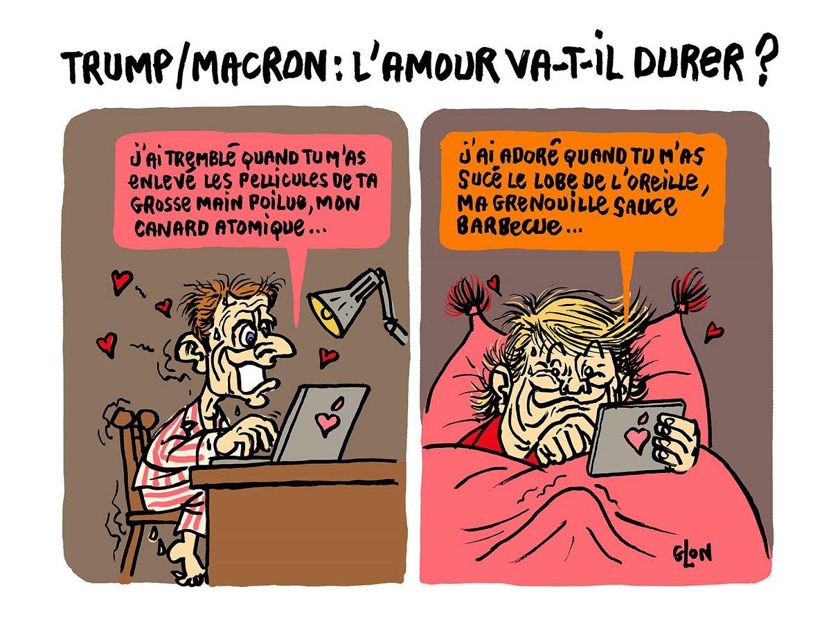 dessin d'actualité montrant Donald Trump et Emmanuel Macron s'échangeant des SMS coquins