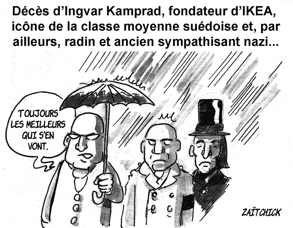 dessin d'actualité humoristique des funérailles d'Ingvar Kamprad, fondateur d'IKEA