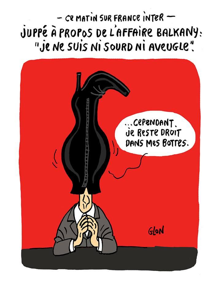 dessin d'actualité humoristique montrant Alain Juppé confronté à l'affaire Balkany