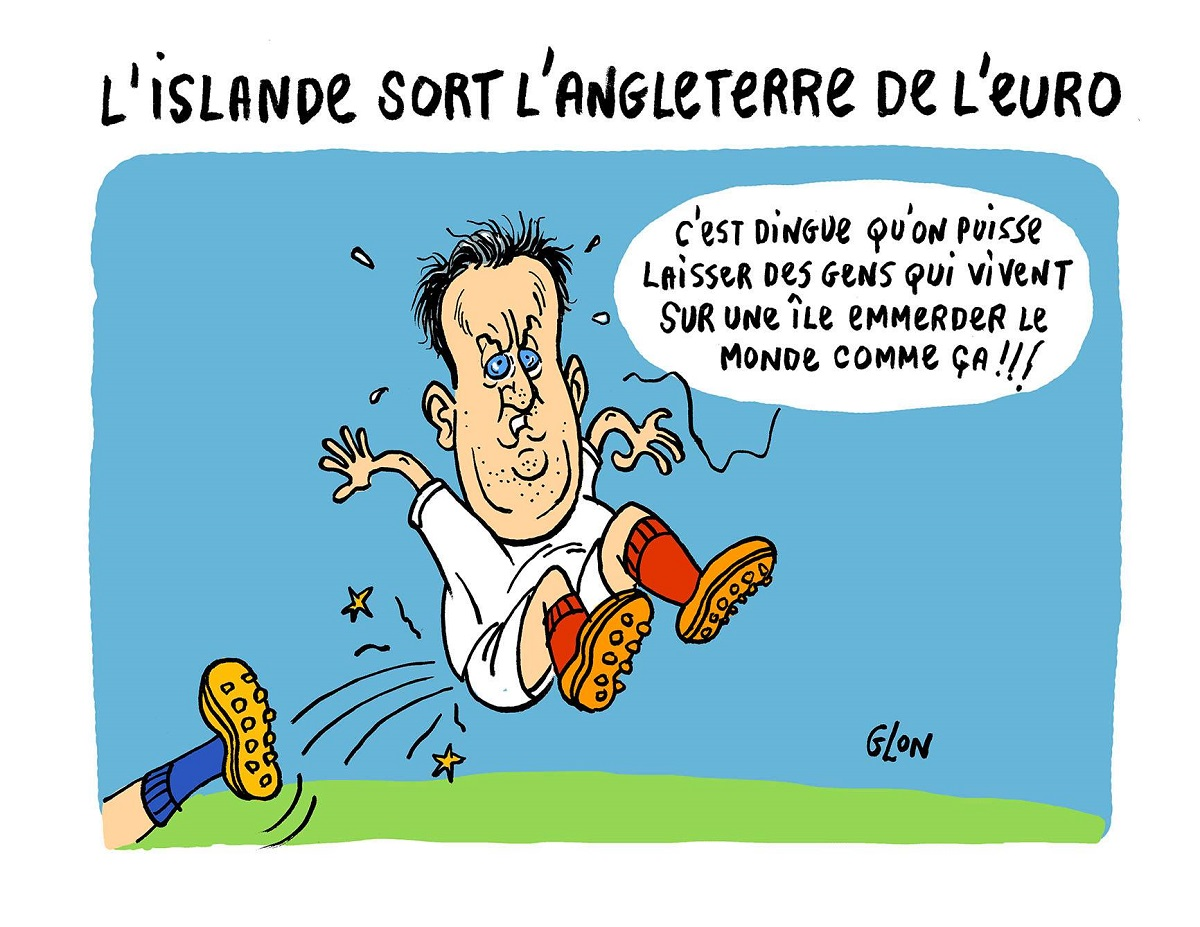 dessin d'actualité humoristique de David Cameron se faisant sortir de l'Euro 2016