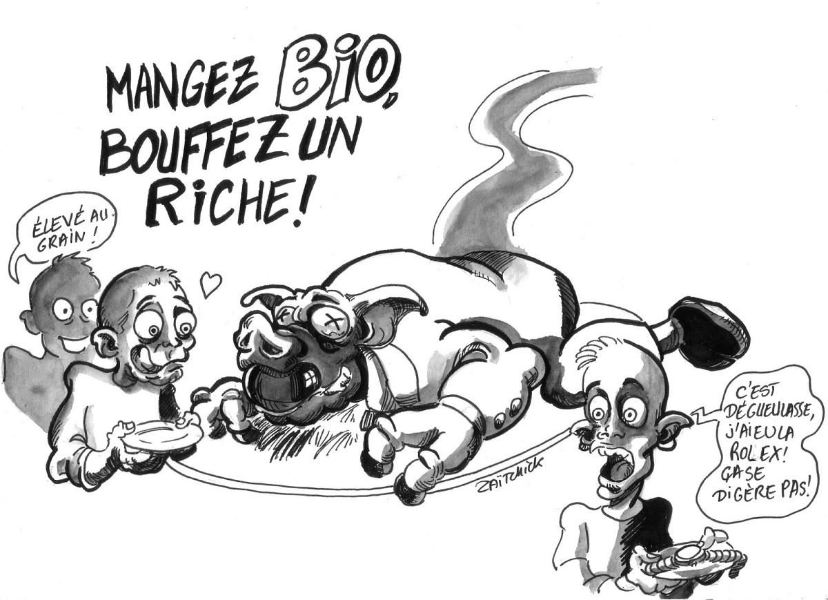dessin d'actualité humoristique de pauvres en train de manger un riche pour pouvoir manger bio