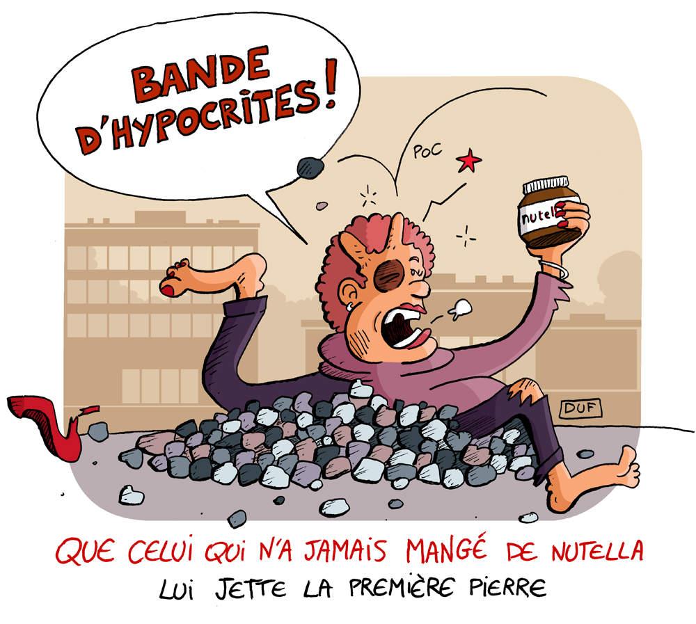dessin d'actualité humoristique sur les émeutes pour du Nutella à Intermarché