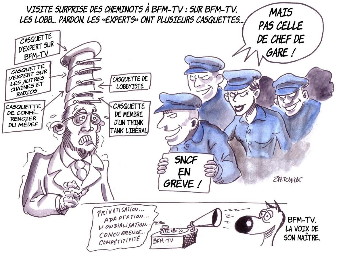 dessin d'actualité humoristique d'un expert sur BFMTV visité par des cheminots en grève