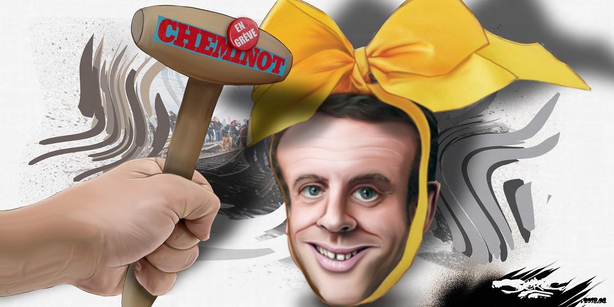 dessin d'actualité humoristique montrant Emmanuel Macron en oeuf de Pâques