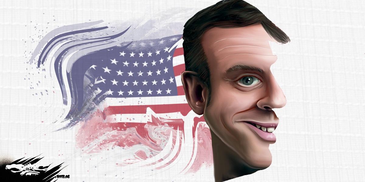 dessin d'actualité humoristique présentant Emmanuel Macron avec le profil de Donald Trump