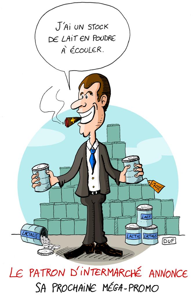 dessin d'actualité humoristique du patron d'Intermarché annoncant la prochaine méga-promo