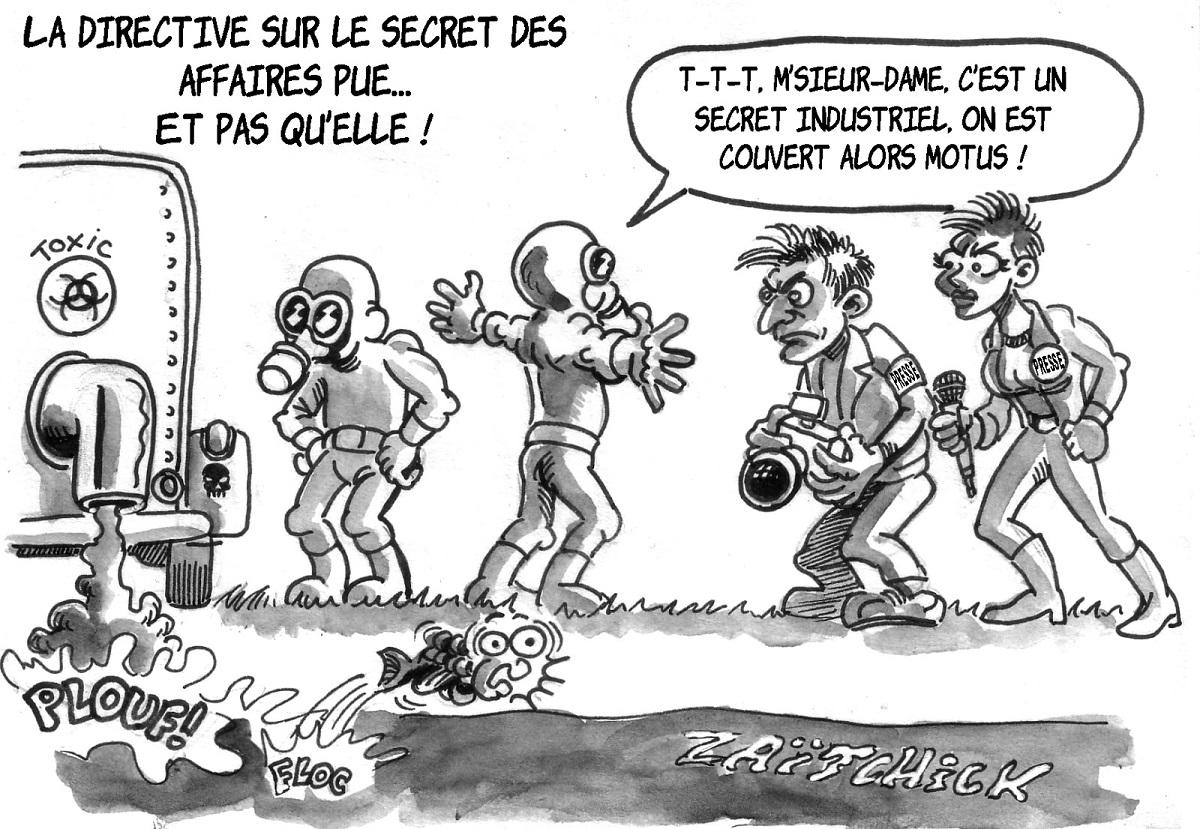 dessin d'actualité humoristique montrant une application polluante de la directive sur le secret des affaires