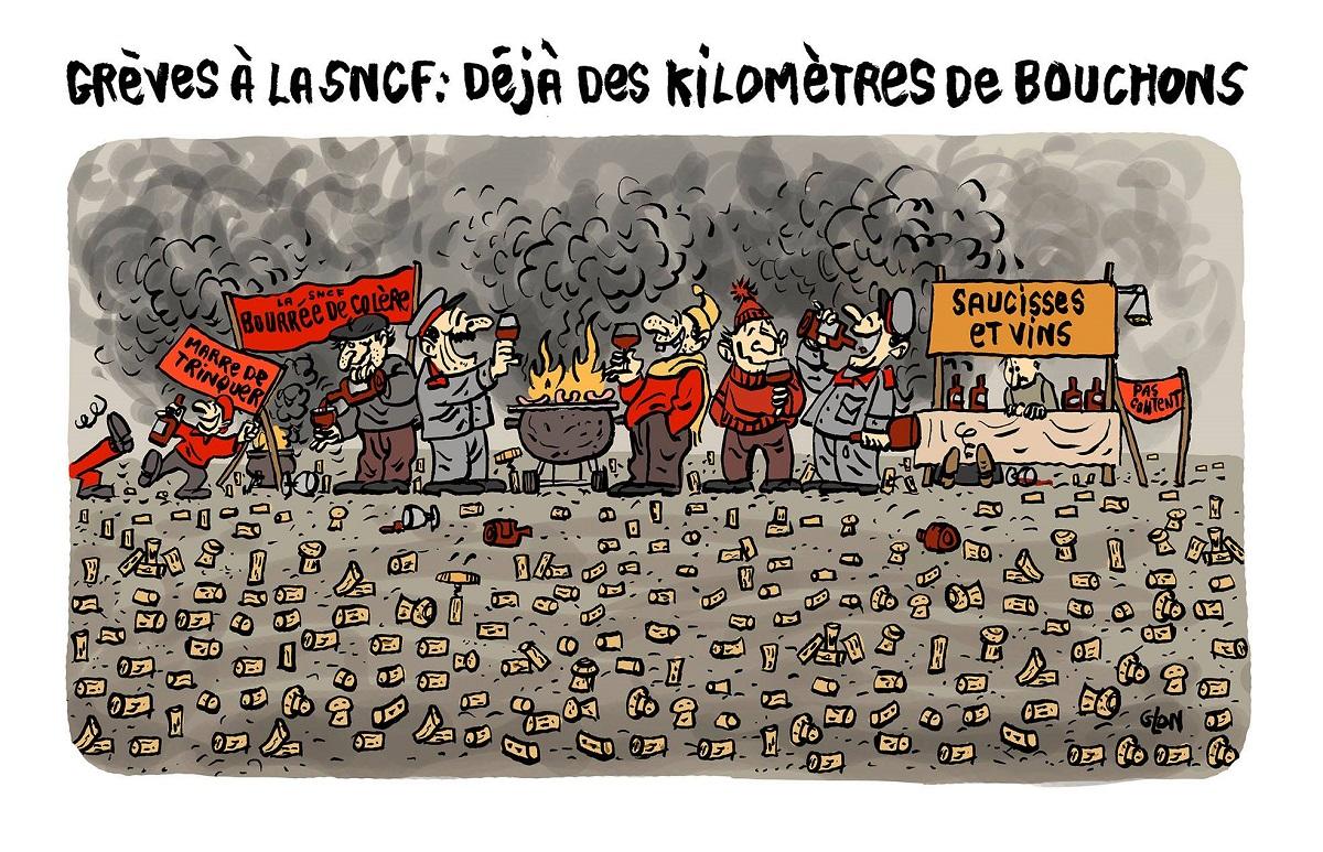 dessin d'actualité humoristique d'un piquet de grève de la SNCF