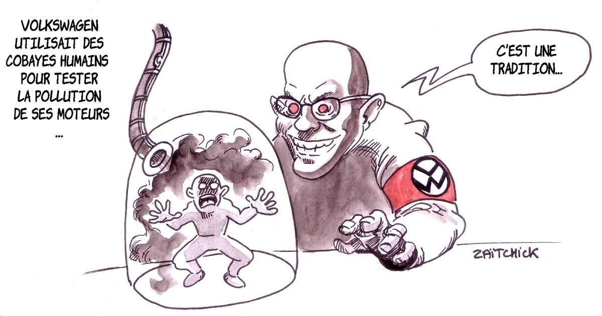 dessin d'actualité humoristique montrant les test des moteurs de Volkswagen sur des cobayes humains