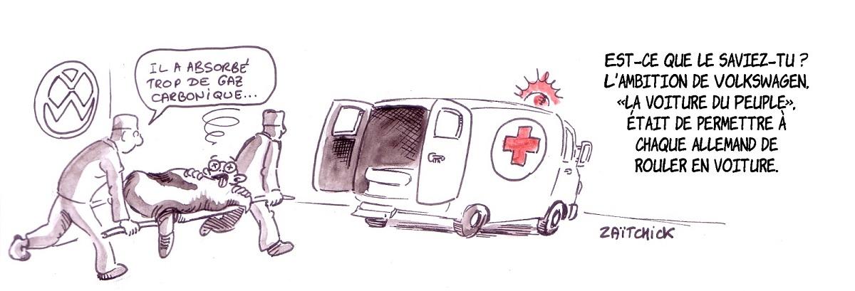 dessin d'actualité humoristique d'un cobaye Volkswagen intoxiqué par le gaz carbonique
