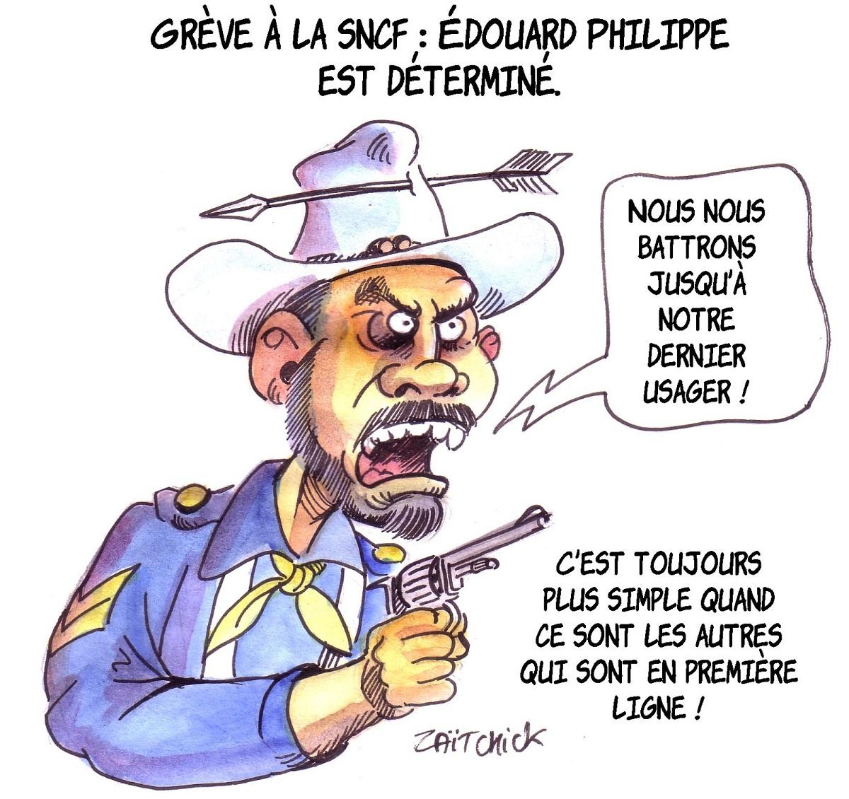 dessin d'actualité humoristique montrant Édouard Philippe en Little Big Man