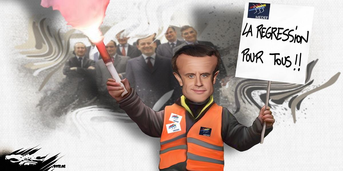dessin d'actualité humoristique montrant Emmanuel Macron en bloqueur universel soutenu par le Medef