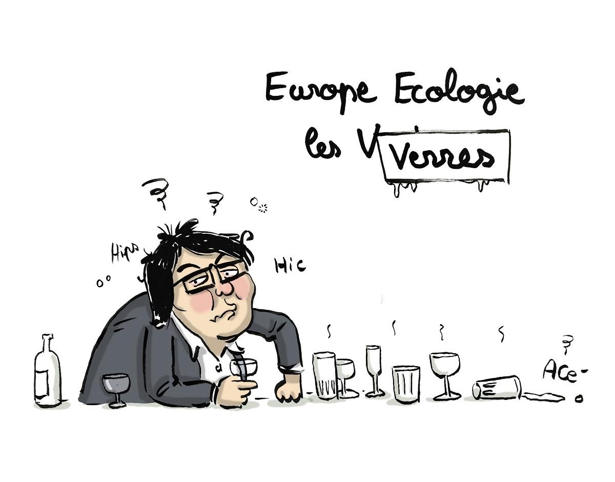 dessin humoristique d'actualité montrant Jean-Vincent Placé et son nouveau parti alcoolique