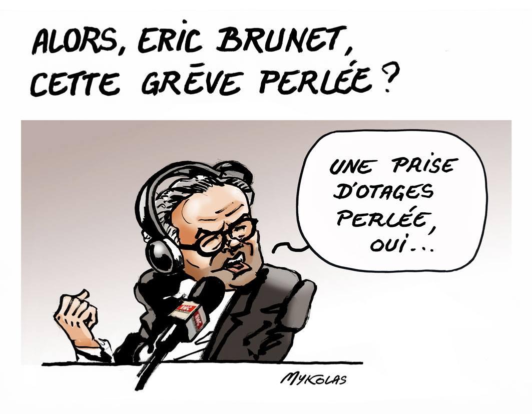 dessin d'actualité humoristique d'Éric Brunet parlant de la grève perlée de la SNCF