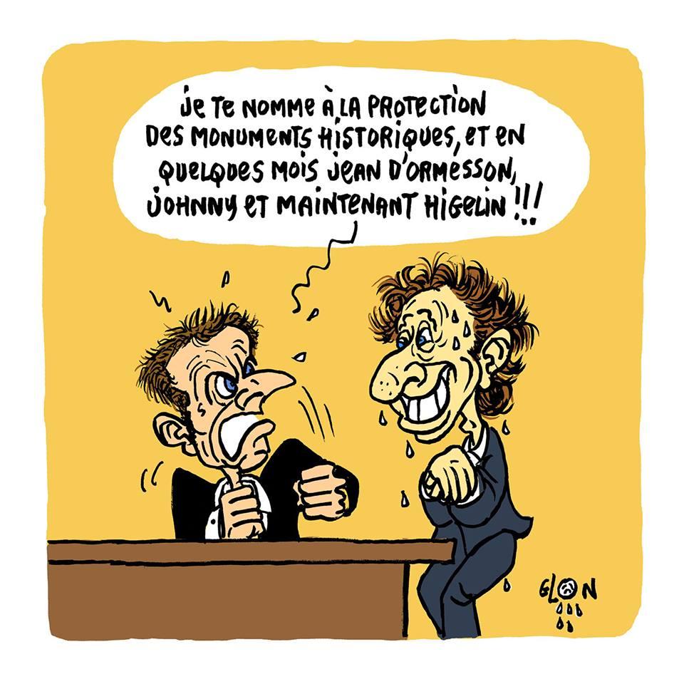 dessin d'actualité humoristique d'Emmanuel Macron reprochant à Stéphane Bern la disparition de Jacques Higelin