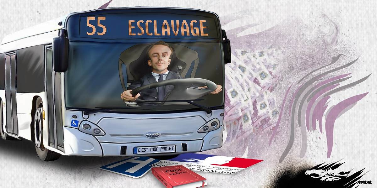 dessin d'actualité humoristique montrant Emmanuel Macron conduisant le bus de l'esclavage
