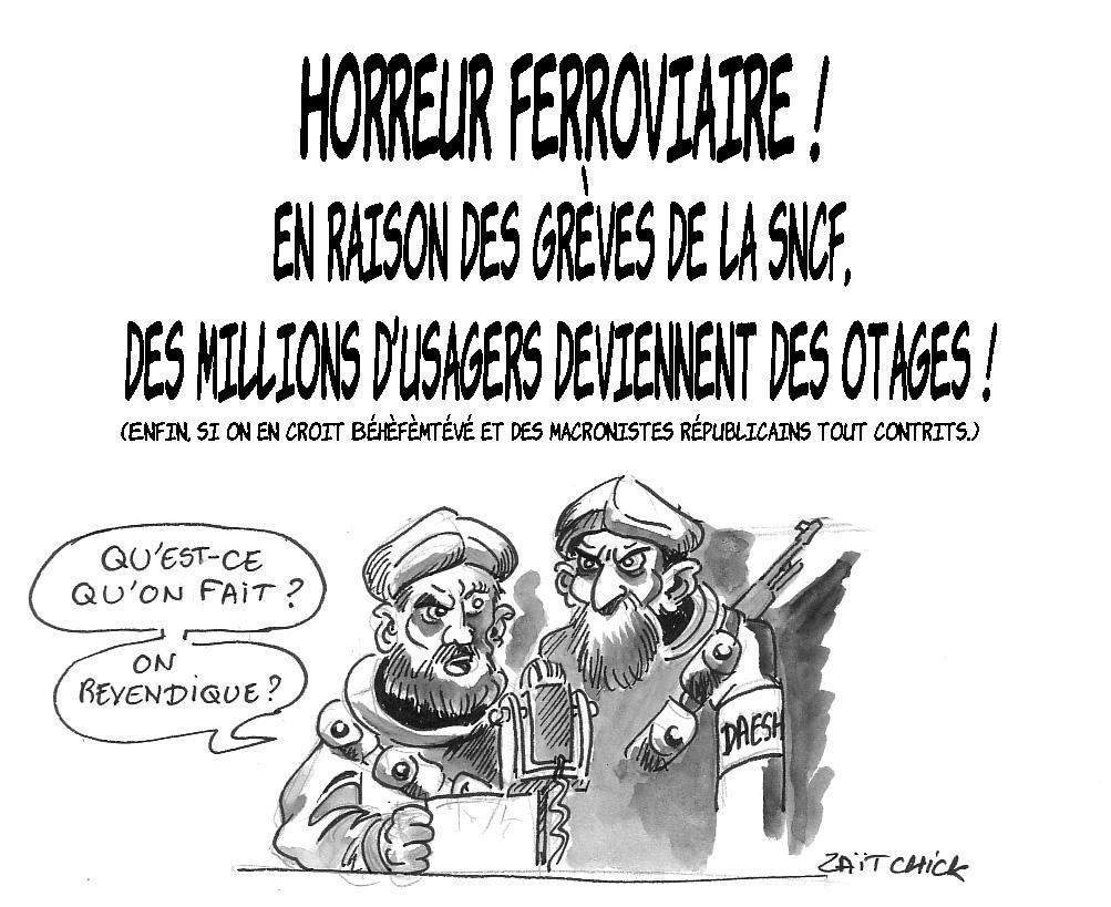 dessin d'actualité humoristique de Daesh envisageant de revendiquer les usagers de la SNCF otages de la grève