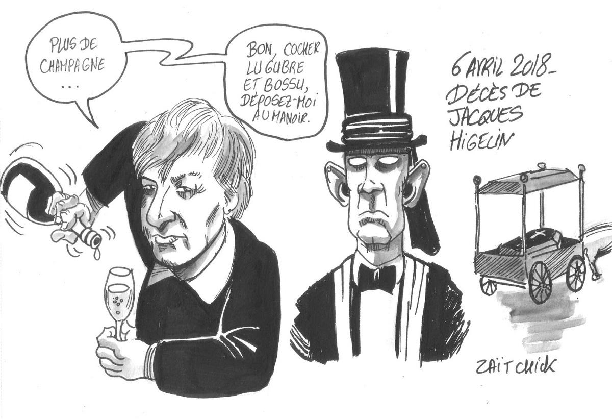 desisn d'actualité humoristique montrant Jacques Higelin s'apprêtant à monter dans le corbillard