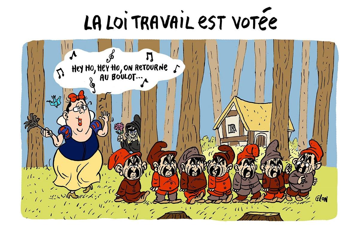 dessin d'actualité humoristique de François Hollande en Blanche-Neige remettant les nains Philippe Martinez au boulot
