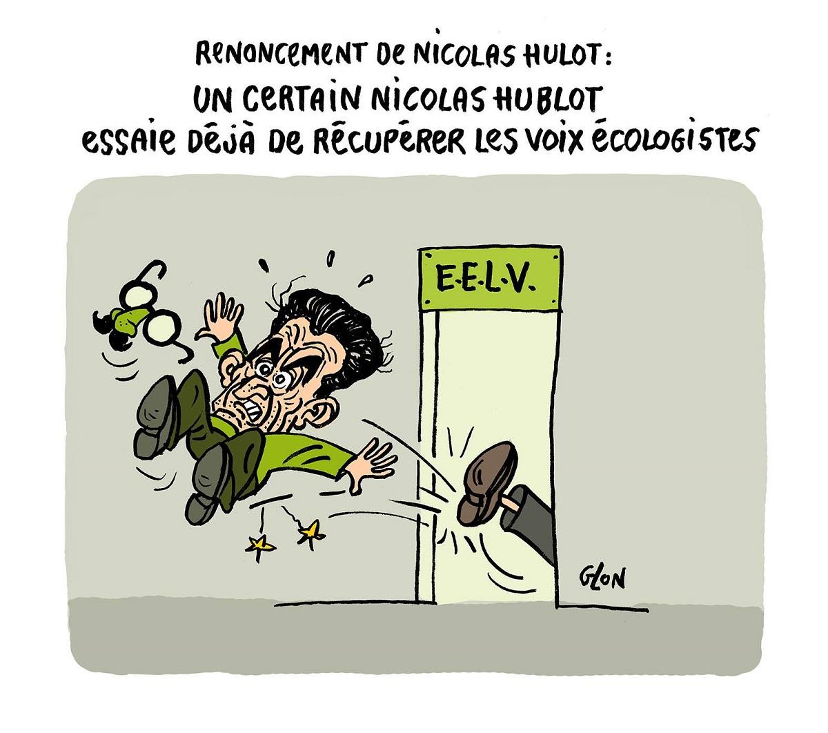 dessin d'actualité montrant Nicolas Sarkozy éjecté de EELV