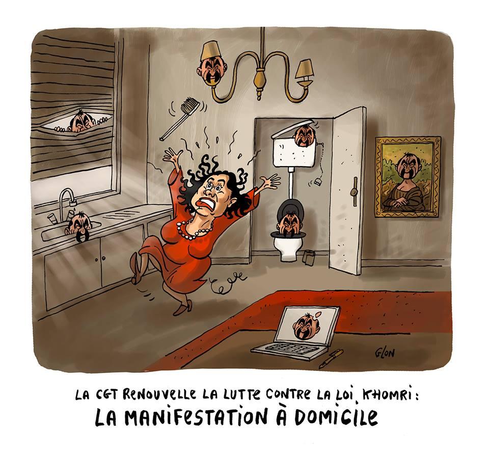 dessin d'actualité humoristique sur la manifestation organisée par Philippe Martibez et la CGT au domicile de Myriam El Khomri